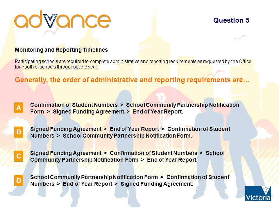 Question 5 Monitoring and Reporting Timelines Participating schools are required to complete administrative and reporting requirements as requested by the Office for Youth of schools throughout the year.
