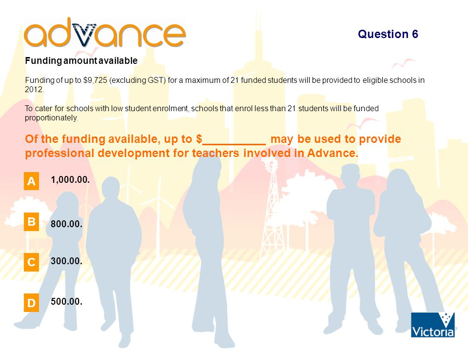 Question 7 Funding amount available To assist teachers in the successful delivery of Advance, a portion of the Advance funding can be used for Casual Relief Teacher (CRT) provision during the year.