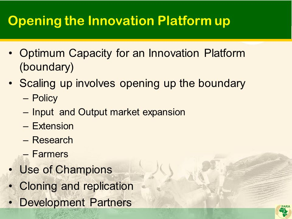Opening the Innovation Platform up Optimum Capacity for an Innovation Platform (boundary) Scaling up involves opening up the boundary –Policy –Input and Output market expansion –Extension –Research –Farmers Use of Champions Cloning and replication Development Partners