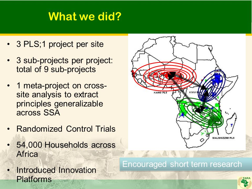 What we did: Extensive Monitoring and Evaluation Robust Quantitative data - double difference with before and after combined with with and without Two types of counterfactuals- Conventional and Clean Extensive capacity building Set up Innovation Platforms- 36 in all Extensive monitoring, learning, and evaluation