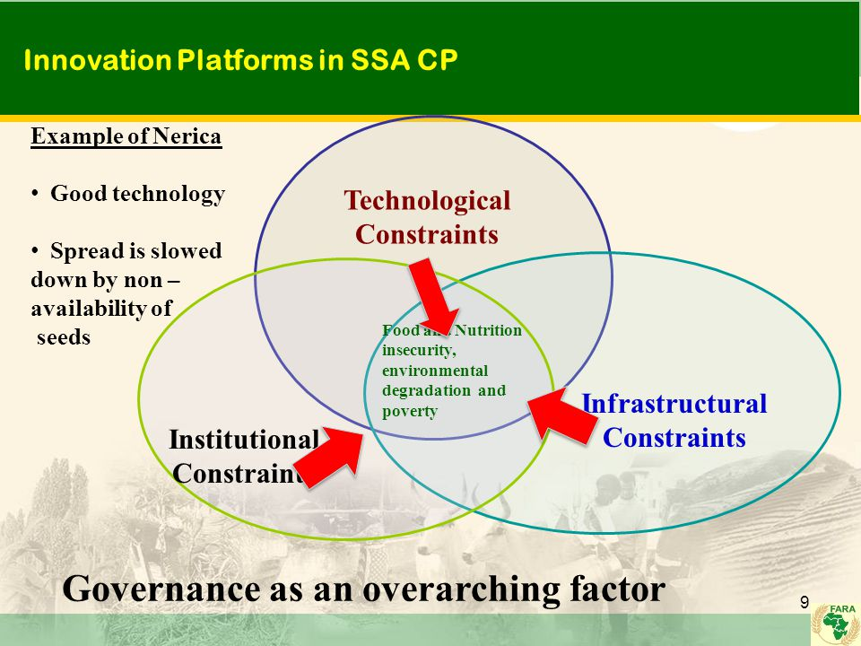 Innovation Platforms in SSA CP 9 Technological Constraints Infrastructural Constraints Institutional Constraints Food and Nutrition insecurity, environmental degradation and poverty Governance as an overarching factor Example of Nerica Good technology Spread is slowed down by non – availability of seeds