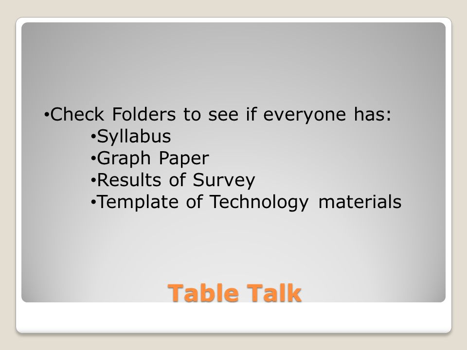 Table Talk Check Folders to see if everyone has: Syllabus Graph Paper Results of Survey Template of Technology materials