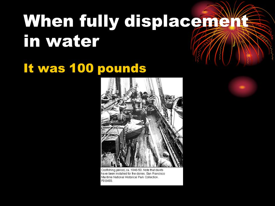 When fully displacement in water It was 100 pounds