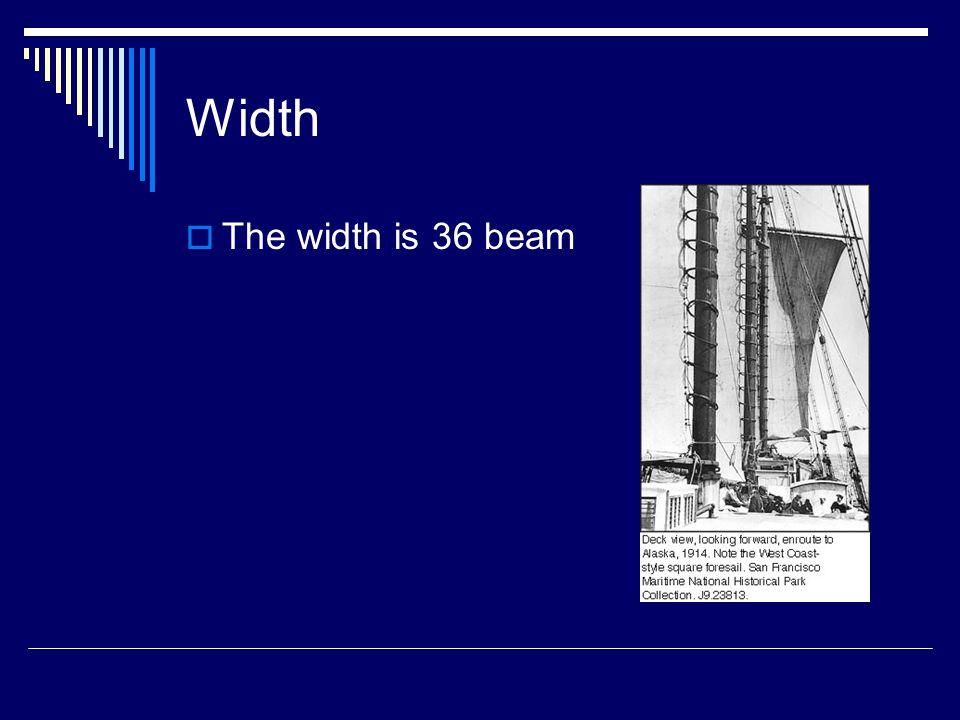 Width  The width is 36 beam