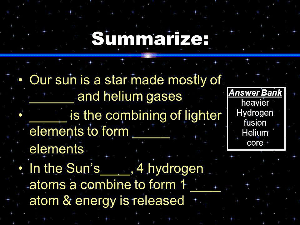 Summarize: Our sun is a star made mostly of ______ and helium gases _____ is the combining of lighter elements to form _____ elements In the Sun's____