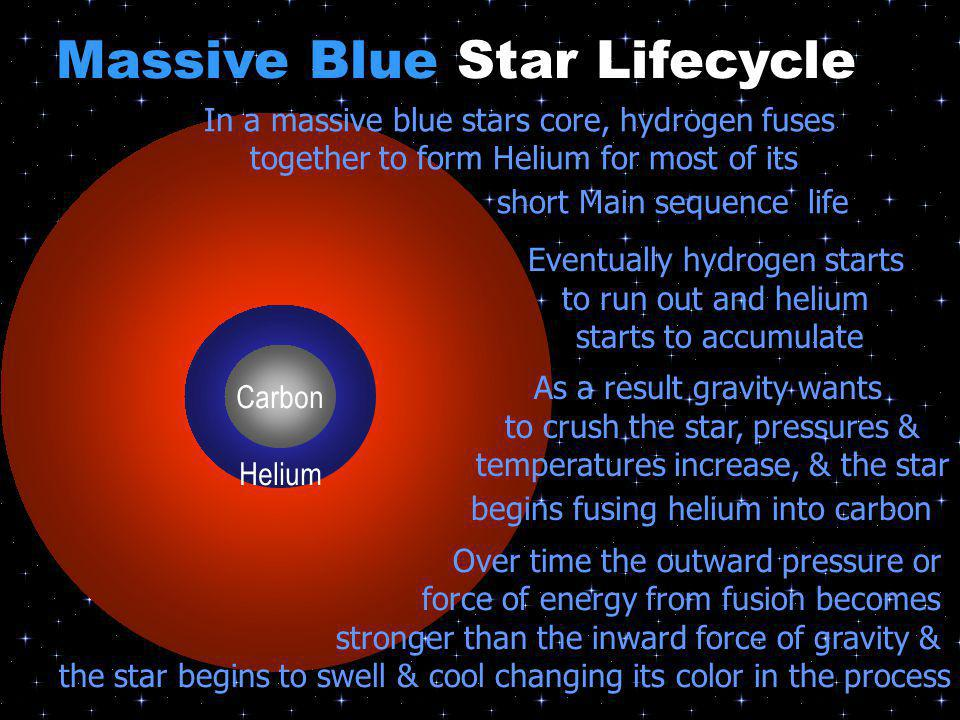 Helium In a massive blue stars core, hydrogen fuses together to form Helium for most of its short Main sequence life Eventually hydrogen starts to run