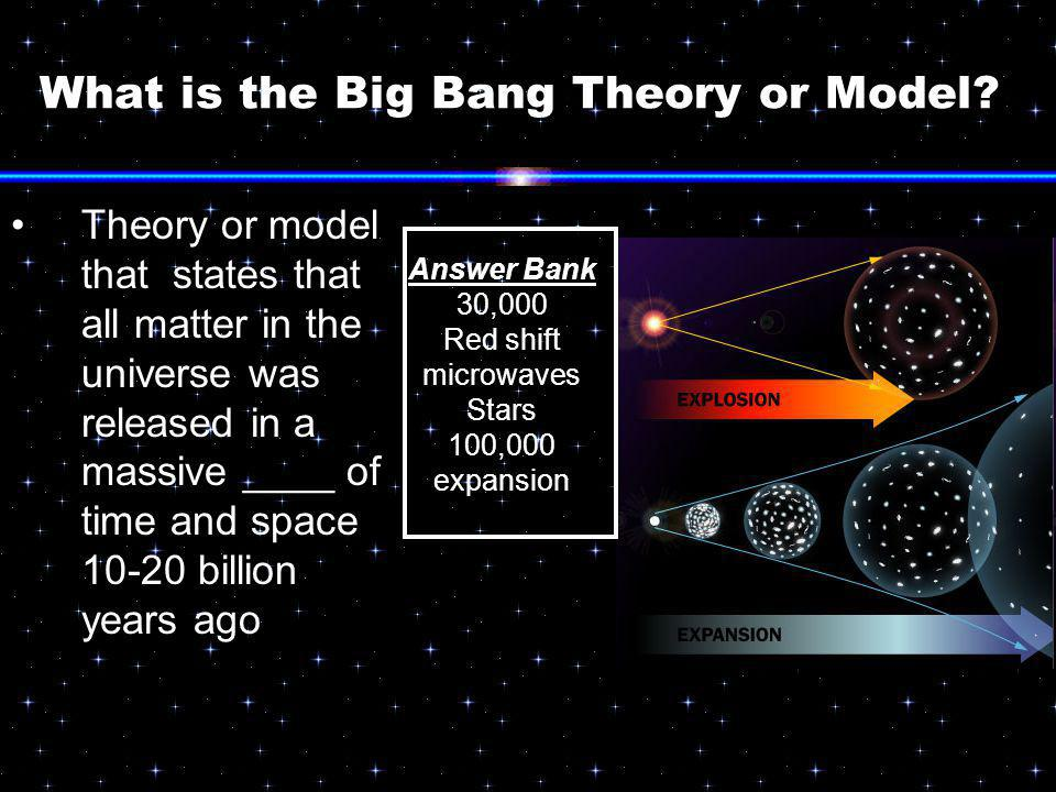 What is the Big Bang Theory or Model? Theory or model that states that all matter in the universe was released in a massive ____ of time and space 10-