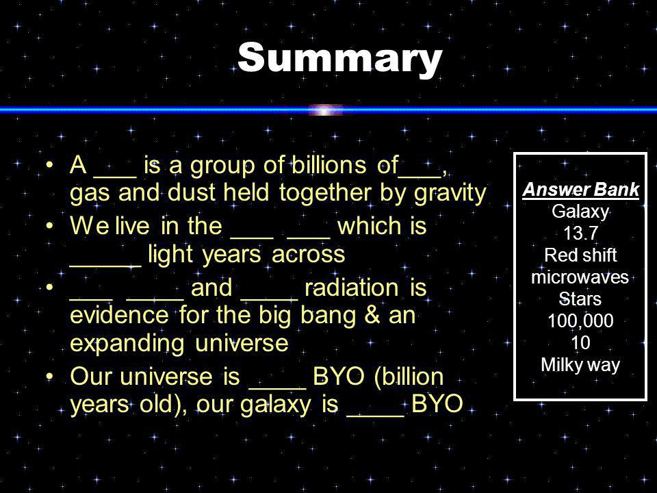 Summary A ___ is a group of billions of___, gas and dust held together by gravity We live in the ___ ___ which is _____ light years across ___ ____ an