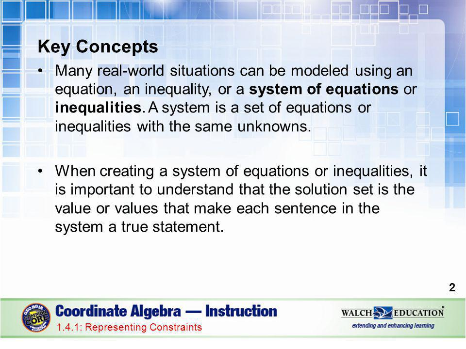 Key Concepts Many real-world situations can be modeled using an equation, an inequality, or a system of equations or inequalities.