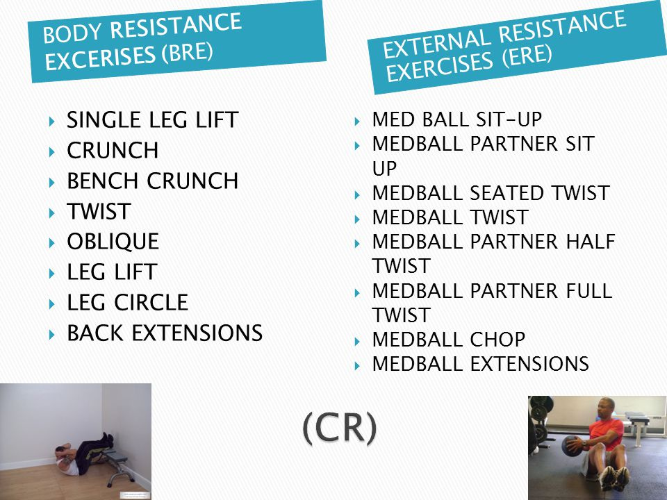 BODY RESISTANCE EXCERISES (BRE) EXTERNAL RESISTANCE EXERCISES (ERE)  SINGLE LEG LIFT  CRUNCH  BENCH CRUNCH  TWIST  OBLIQUE  LEG LIFT  LEG CIRCLE  BACK EXTENSIONS  MED BALL SIT-UP  MEDBALL PARTNER SIT UP  MEDBALL SEATED TWIST  MEDBALL TWIST  MEDBALL PARTNER HALF TWIST  MEDBALL PARTNER FULL TWIST  MEDBALL CHOP  MEDBALL EXTENSIONS