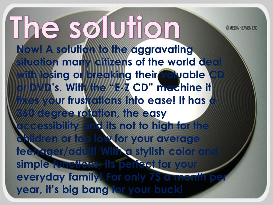 """Now! A solution to the aggravating situation many citizens of the world deal with losing or breaking their valuable CD or DVD's. With the """"E-Z CD"""" mac"""