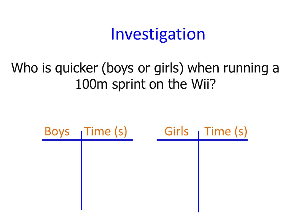 Investigation Who is quicker (boys or girls) when running a 100m sprint on the Wii.