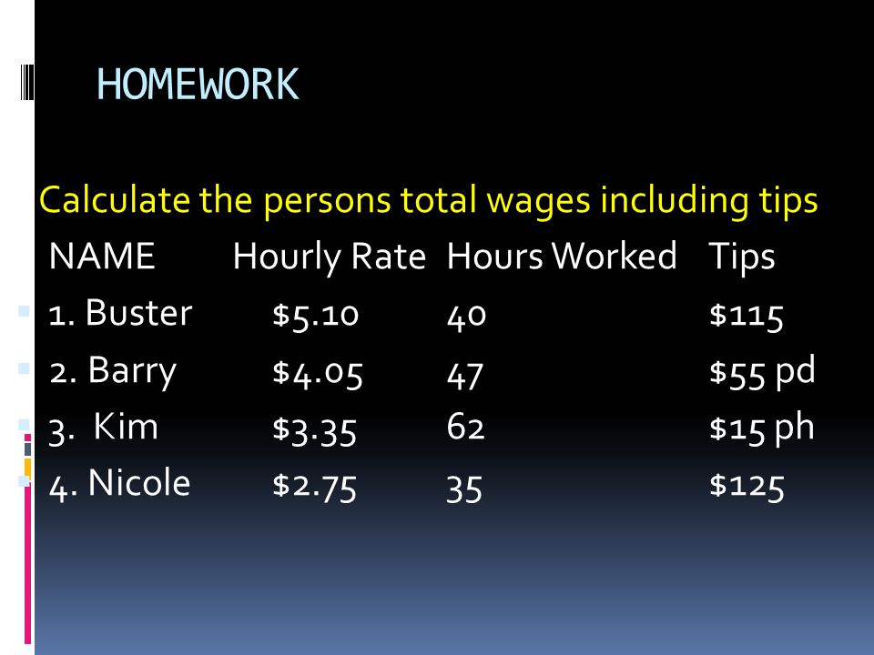 HOMEWORK Calculate the persons total wages including tips NAME Hourly RateHours WorkedTips  1.
