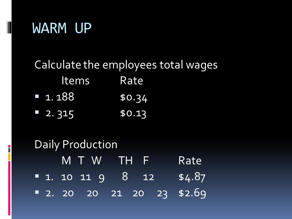 WARM UP Calculate the employees total wages ItemsRate  1.