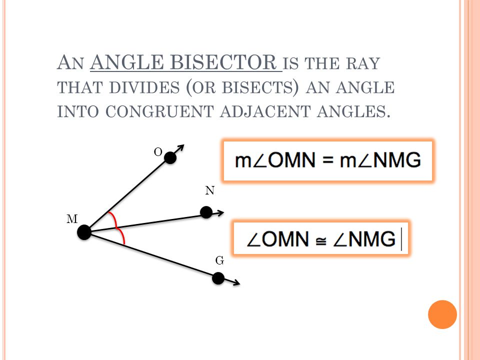 A N ANGLE BISECTOR IS THE RAY THAT DIVIDES ( OR BISECTS ) AN ANGLE INTO CONGRUENT ADJACENT ANGLES.
