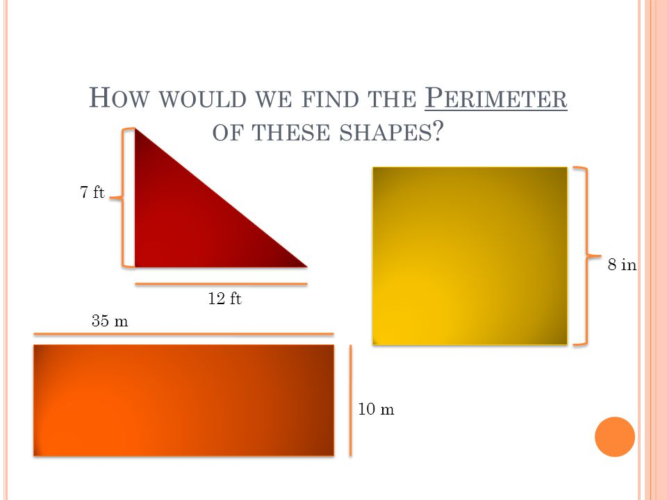 H OW WOULD WE FIND THE P ERIMETER OF THESE SHAPES ? 7 ft 12 ft 8 in 10 m 35 m