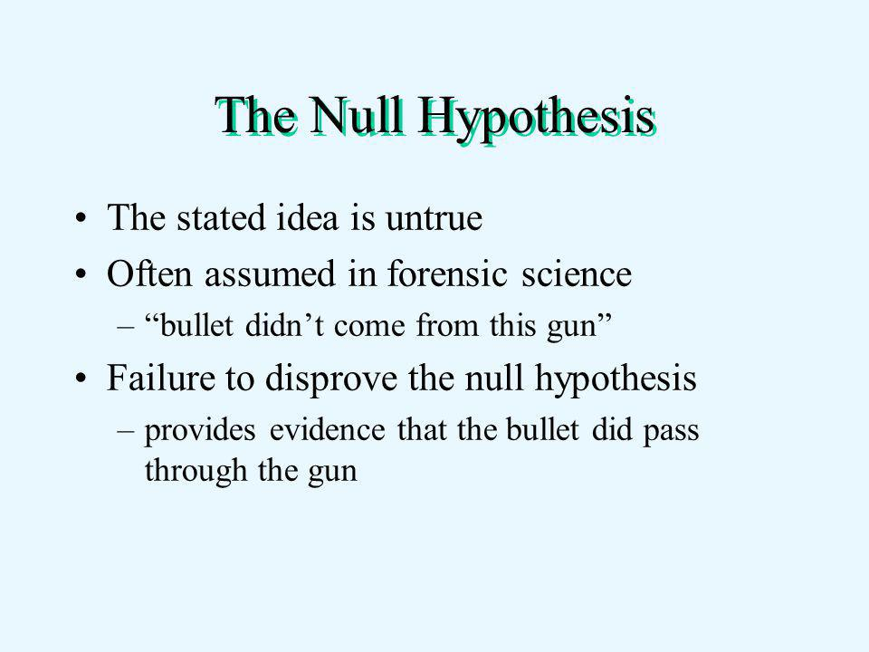 The Null Hypothesis The stated idea is untrue Often assumed in forensic science – bullet didn't come from this gun Failure to disprove the null hypothesis –provides evidence that the bullet did pass through the gun