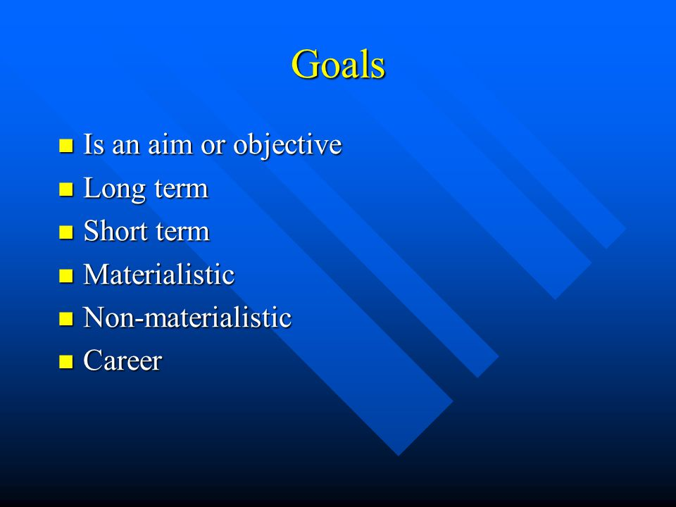 Goals Is an aim or objective Is an aim or objective Long term Long term Short term Short term Materialistic Materialistic Non-materialistic Non-materialistic Career Career