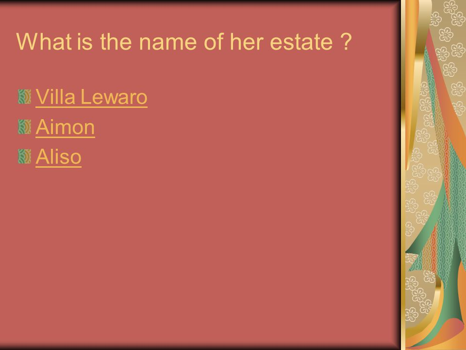 What is the name of her estate Villa Lewaro Aimon Aliso