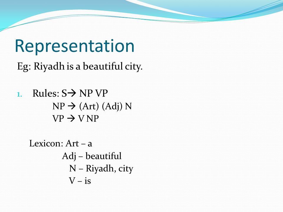 Representation Eg: Riyadh is a beautiful city. 1.