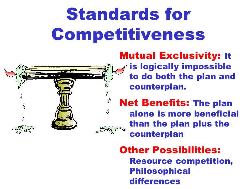 Standards for Competitiveness Mutual Exclusivity: It is logically impossible to do both the plan and counterplan.