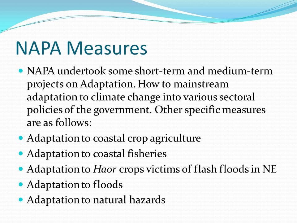 NAPA Measures NAPA undertook some short-term and medium-term projects on Adaptation. How to mainstream adaptation to climate change into various secto