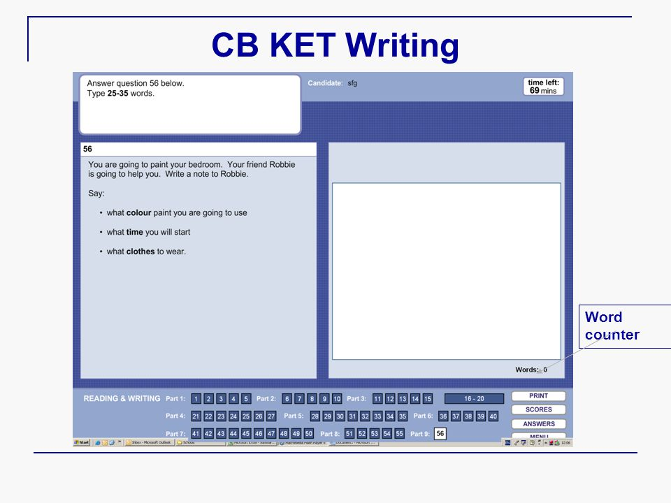 CB KET Writing Word counter