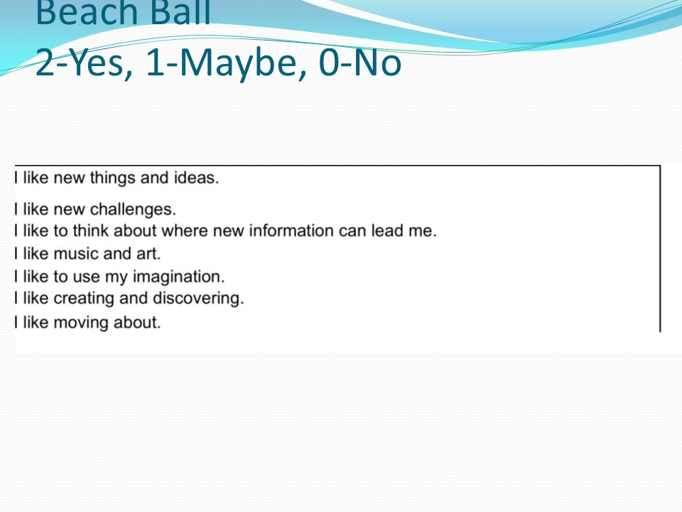 Beach Ball 2-Yes, 1-Maybe, 0-No