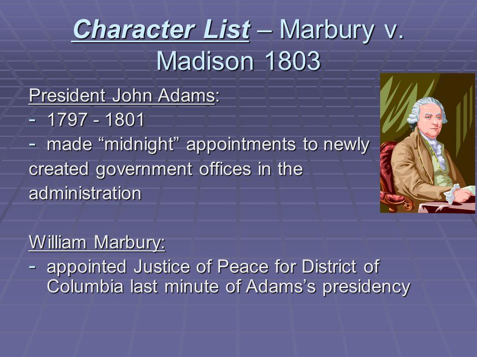 Character List – Marbury v.