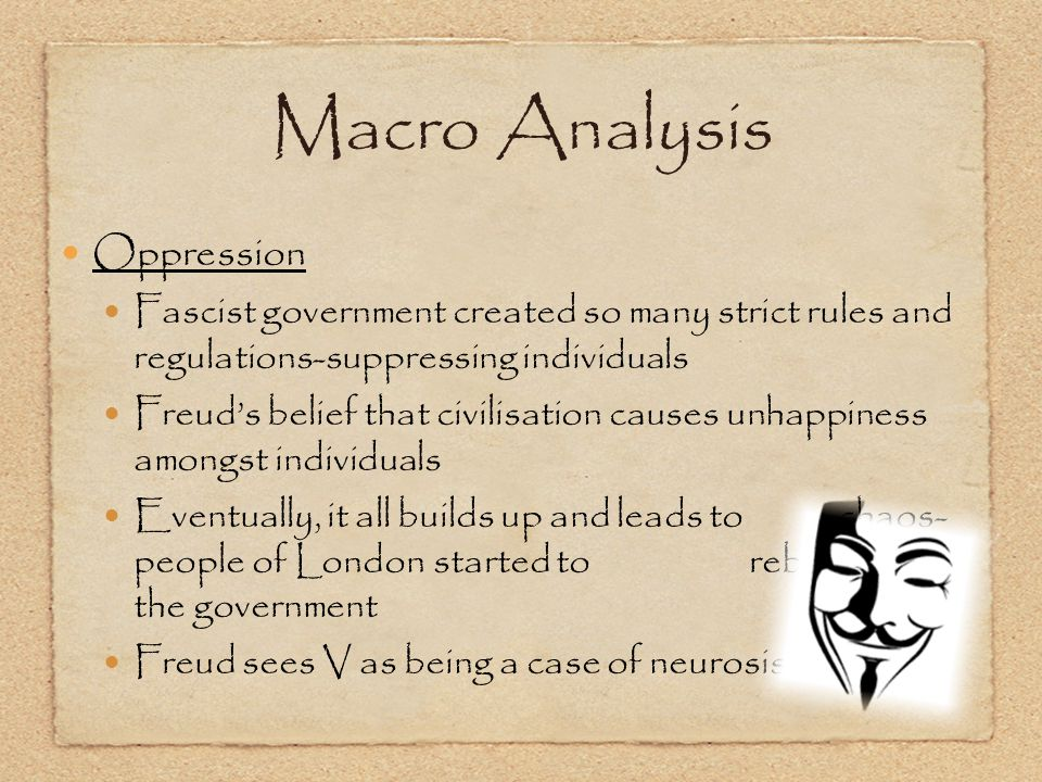 Oppression Fascist government created so many strict rules and regulations-suppressing individuals Freud's belief that civilisation causes unhappiness