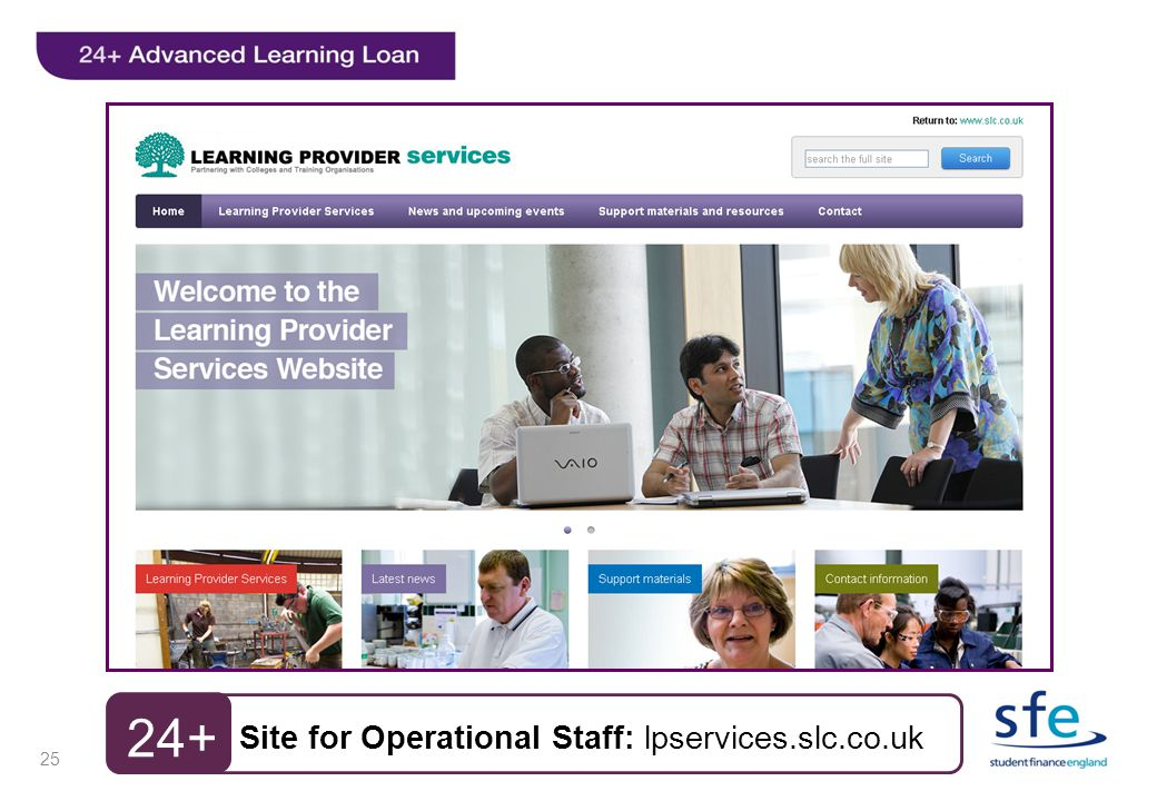 25 Site for Operational Staff: lpservices.slc.co.uk 24+