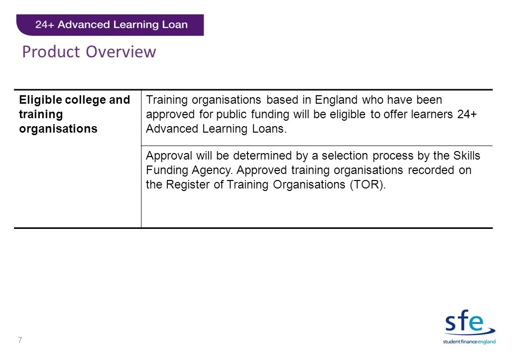 Product Overview Eligible college and training organisations Training organisations based in England who have been approved for public funding will be