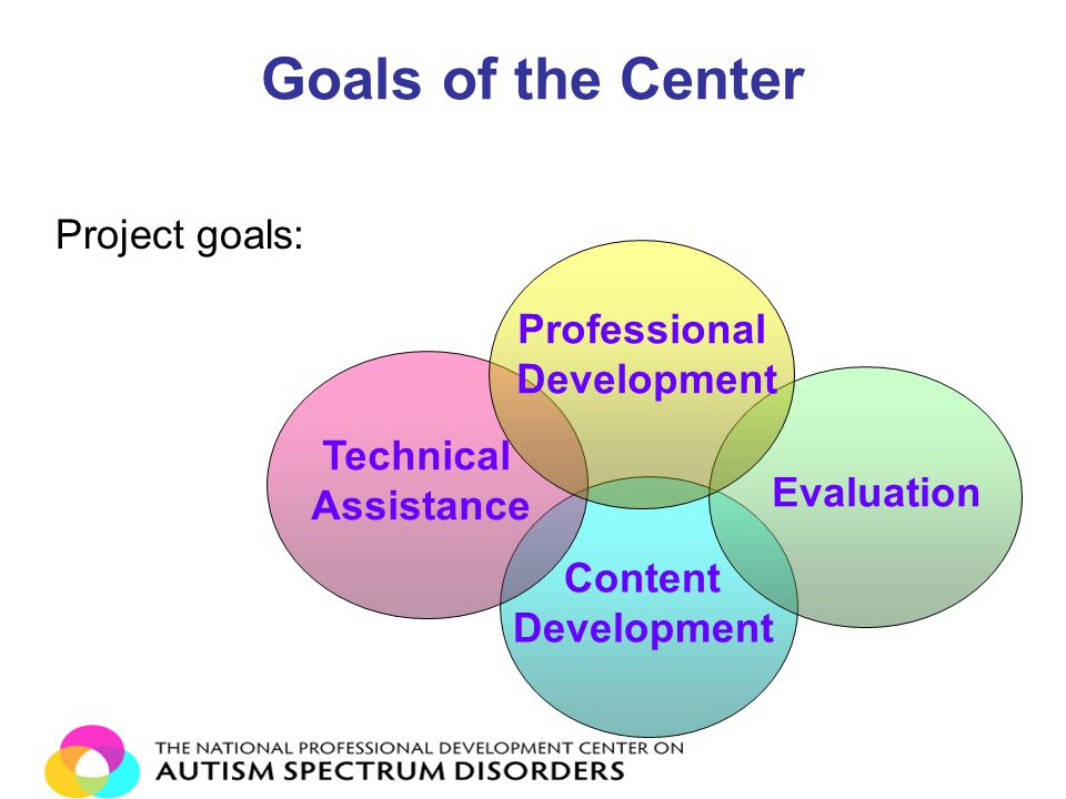 Goals of the Center Project goals: Content Development Technical Assistance Evaluation Professional Development