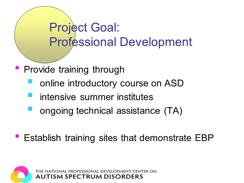 Provide training through  online introductory course on ASD  intensive summer institutes  ongoing technical assistance (TA) Establish training sites that demonstrate EBP Project Goal: Professional Development