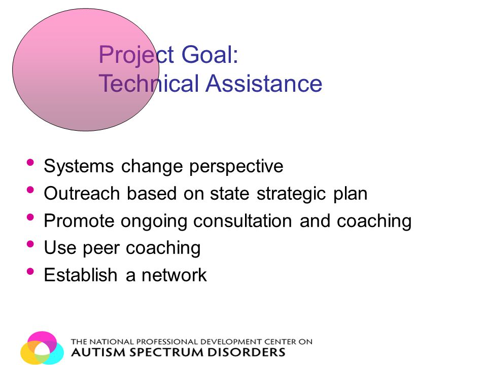 Systems change perspective Outreach based on state strategic plan Promote ongoing consultation and coaching Use peer coaching Establish a network Project Goal: Technical Assistance
