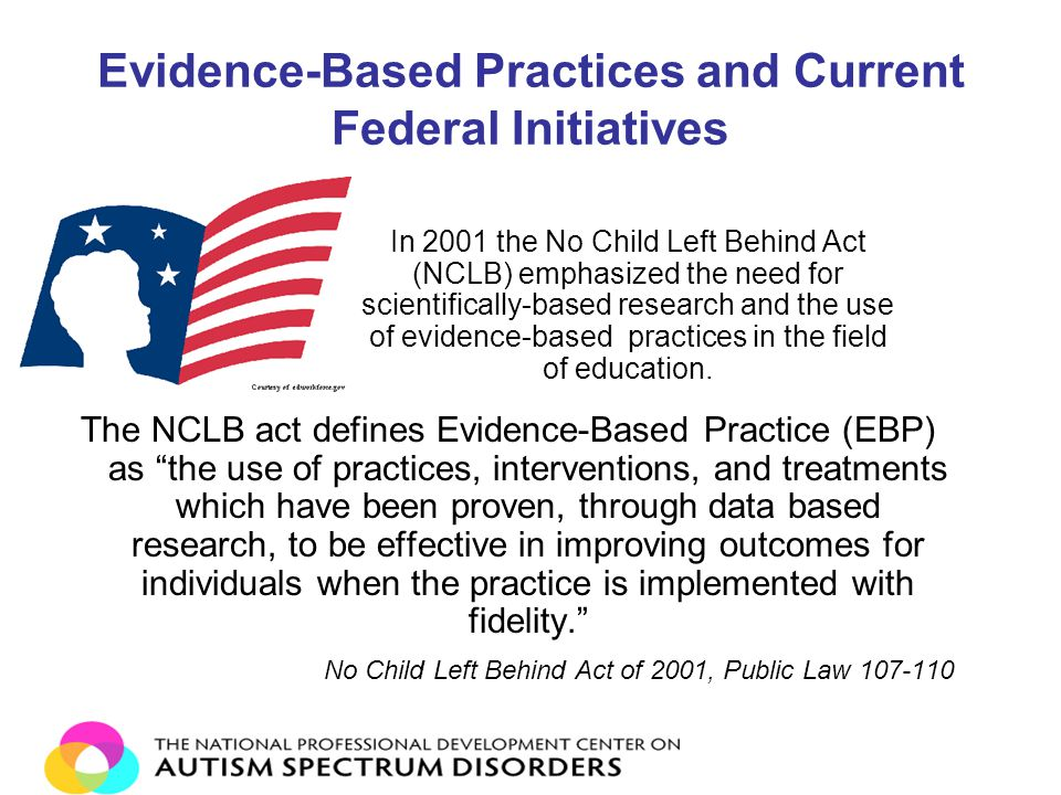 Evidence-Based Practices and Current Federal Initiatives The NCLB act defines Evidence-Based Practice (EBP) as the use of practices, interventions, and treatments which have been proven, through data based research, to be effective in improving outcomes for individuals when the practice is implemented with fidelity. No Child Left Behind Act of 2001, Public Law 107-110 In 2001 the No Child Left Behind Act (NCLB) emphasized the need for scientifically-based research and the use of evidence-based practices in the field of education.
