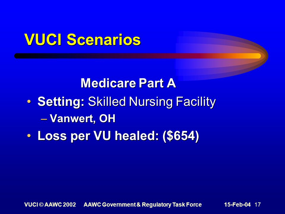 VUCI © AAWC 2002AAWC Government & Regulatory Task Force15-Feb-04 17 VUCI Scenarios Medicare Part A Setting: Skilled Nursing FacilitySetting: Skilled Nursing Facility –Vanwert, OH Loss per VU healed: ($654)Loss per VU healed: ($654)