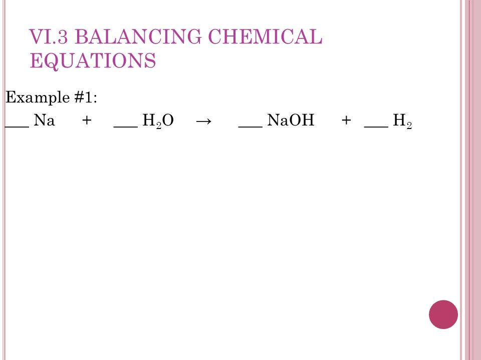 Example #1: ___ Na + ___ H 2 O → ___ NaOH + ___ H 2