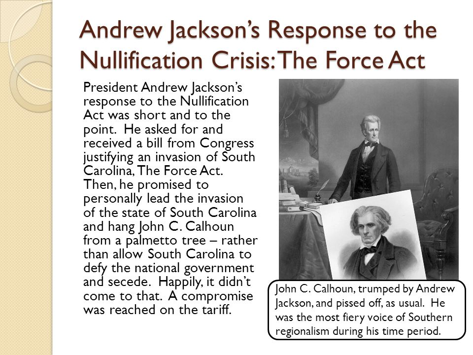 Andrew Jackson's Response to the Nullification Crisis: The Force Act President Andrew Jackson's response to the Nullification Act was short and to the point.