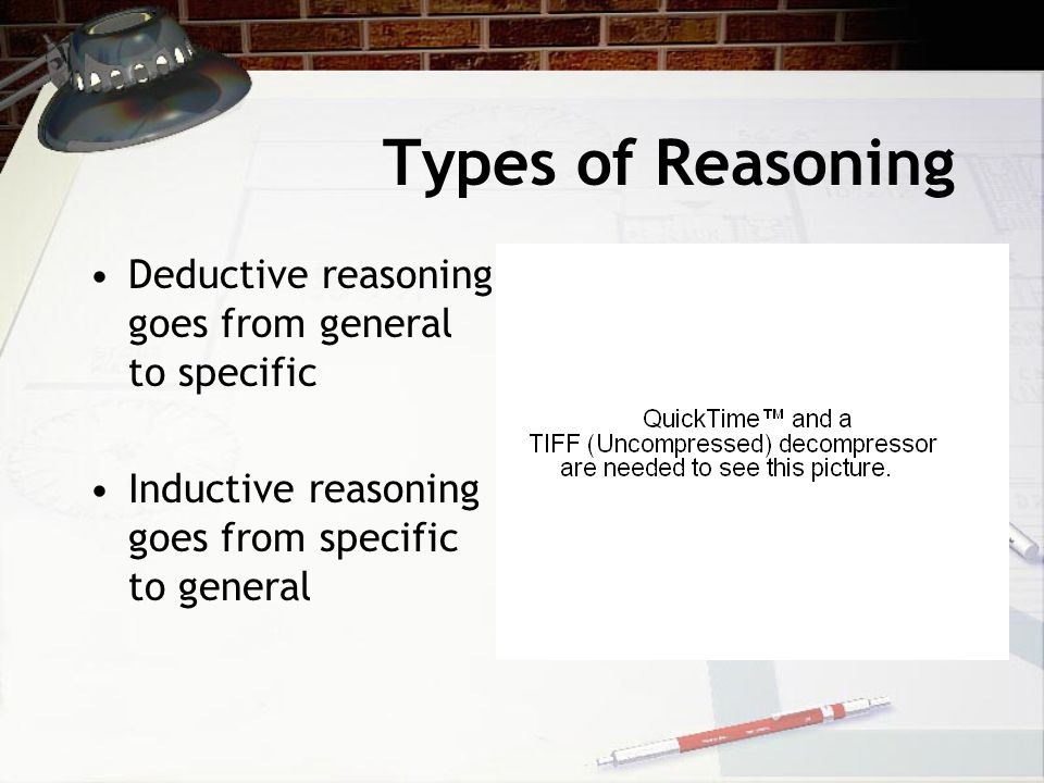 Types of Reasoning Deductive reasoning goes from general to specific Inductive reasoning goes from specific to general