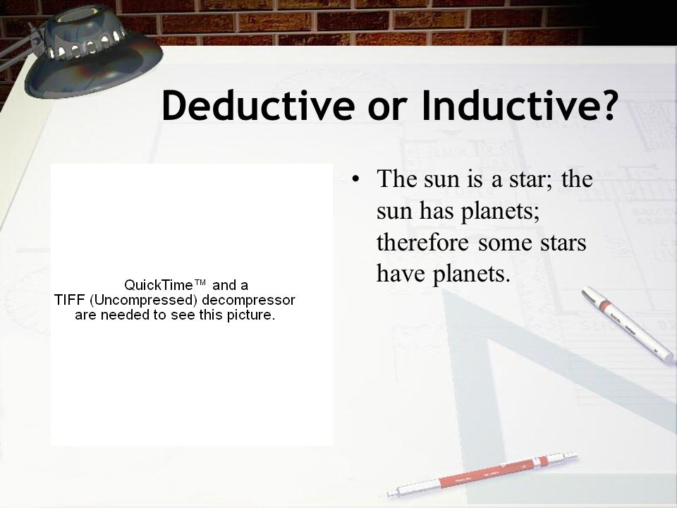 Deductive or Inductive? The sun is a star; the sun has planets; therefore some stars have planets.