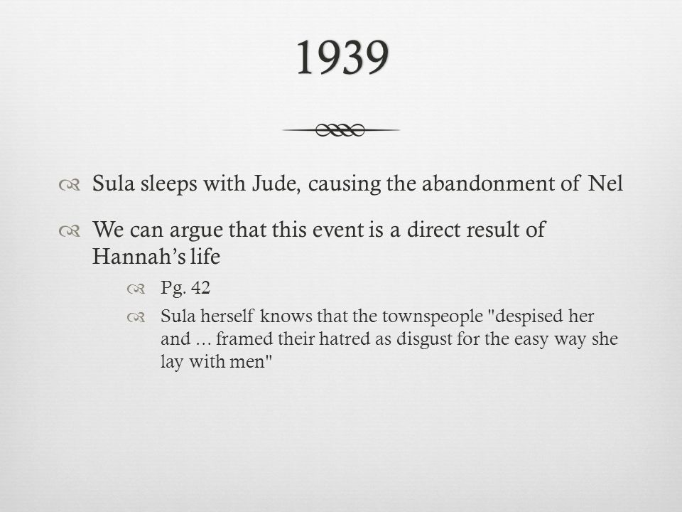 1939  Sula sleeps with Jude, causing the abandonment of Nel  We can argue that this event is a direct result of Hannah's life  Pg.