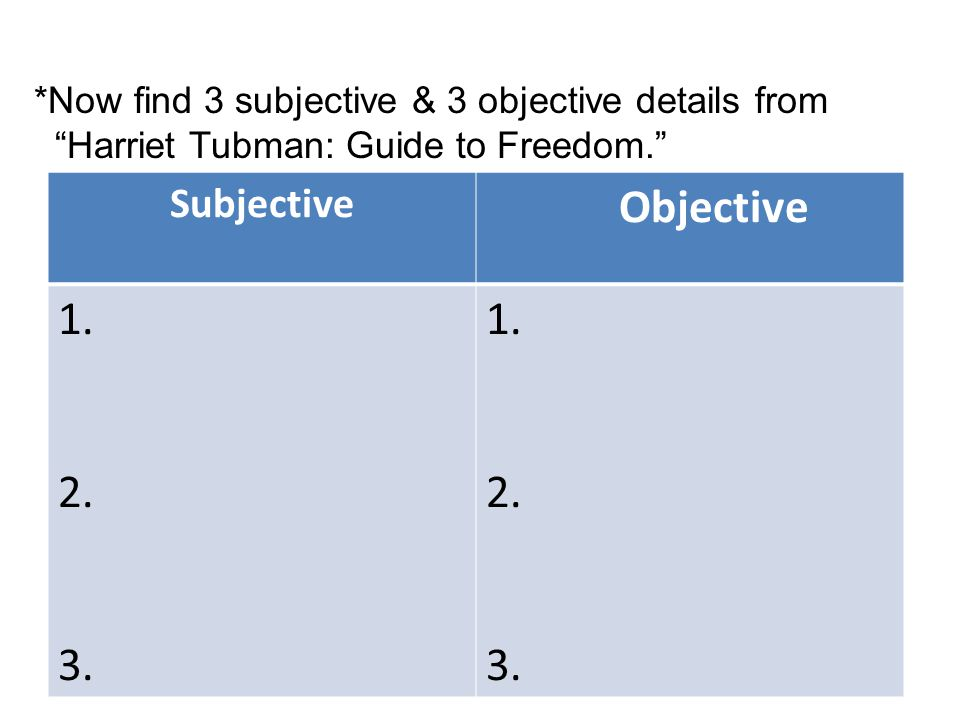 Subjective Objective 1. 2. 3. 1. 2. 3.