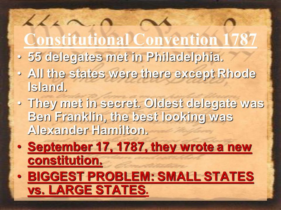 Constitutional Convention 1787 55 delegates met in Philadelphia.55 delegates met in Philadelphia.