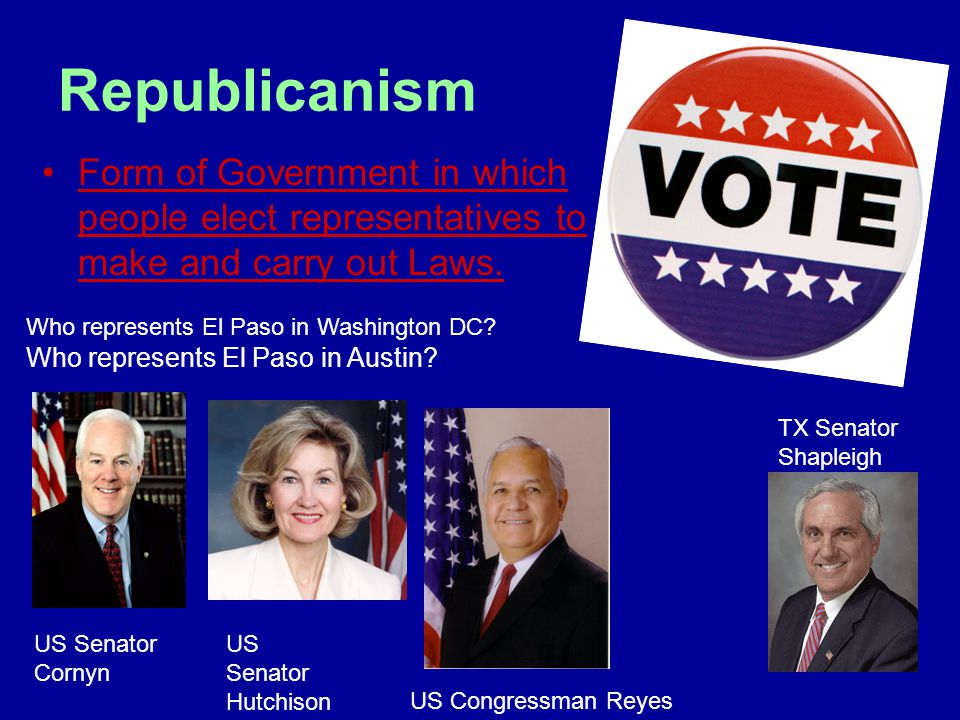 Republicanism Form of Government in which people elect representatives to make and carry out Laws.