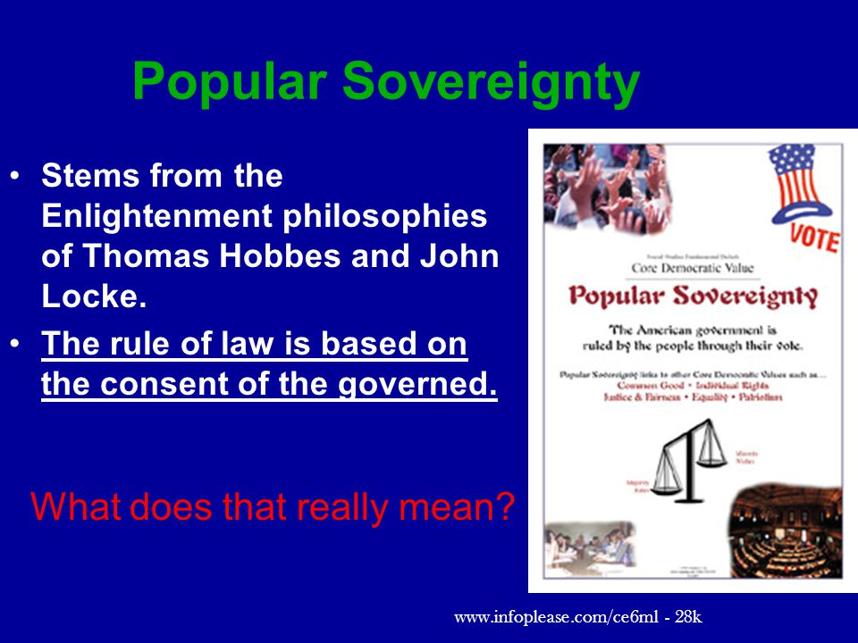 Popular Sovereignty Stems from the Enlightenment philosophies of Thomas Hobbes and John Locke.