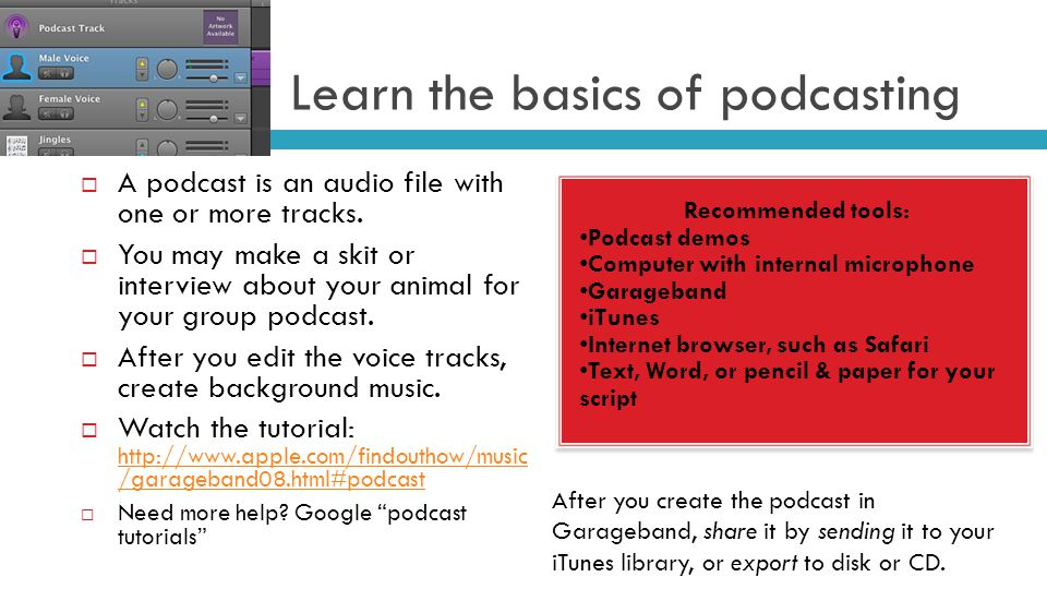 Learn the basics of podcasting Recommended tools: Podcast demos Computer with internal microphone Garageband iTunes Internet browser, such as Safari Text, Word, or pencil & paper for your script Recommended tools: Podcast demos Computer with internal microphone Garageband iTunes Internet browser, such as Safari Text, Word, or pencil & paper for your script  A podcast is an audio file with one or more tracks.