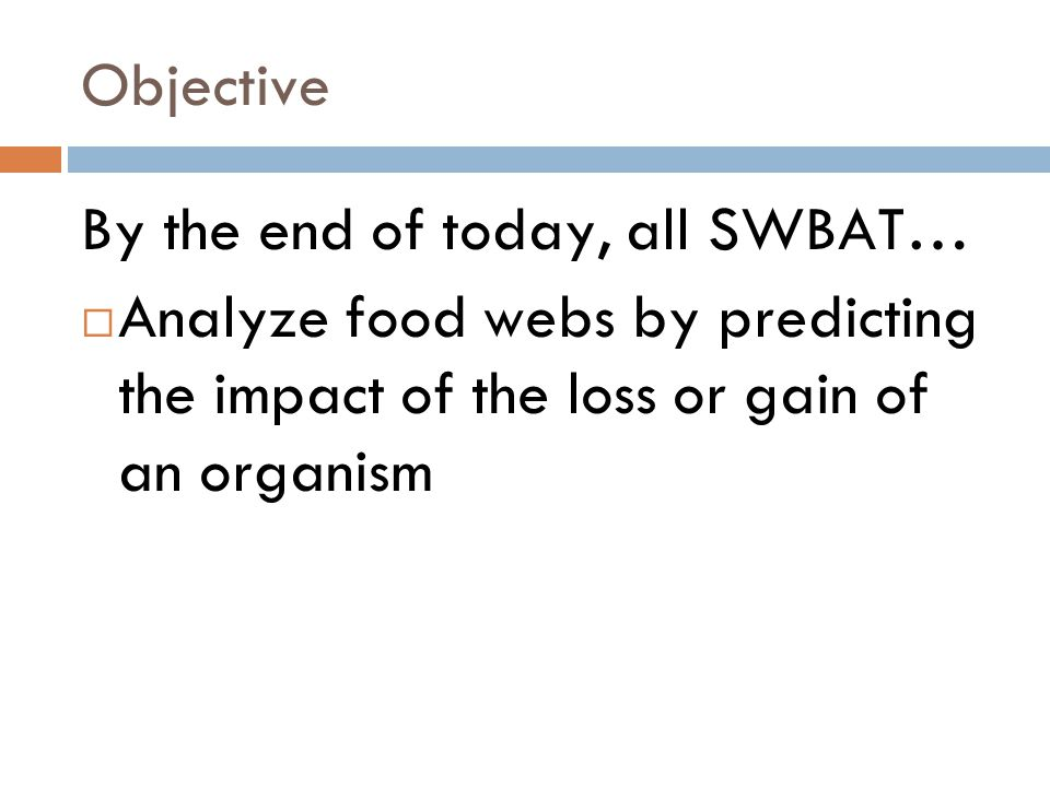Objective By the end of today, all SWBAT…  Analyze food webs by predicting the impact of the loss or gain of an organism