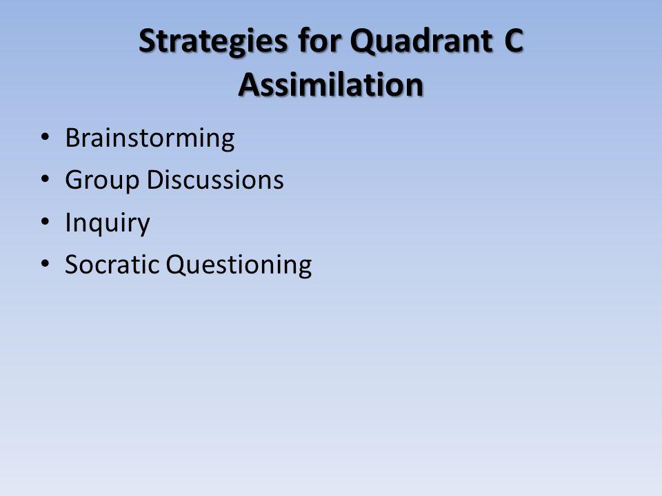 Strategies for Quadrant C Assimilation Brainstorming Group Discussions Inquiry Socratic Questioning