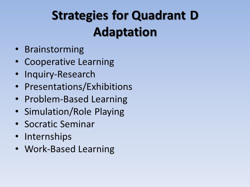 Strategies for Quadrant D Adaptation Brainstorming Cooperative Learning Inquiry-Research Presentations/Exhibitions Problem-Based Learning Simulation/R